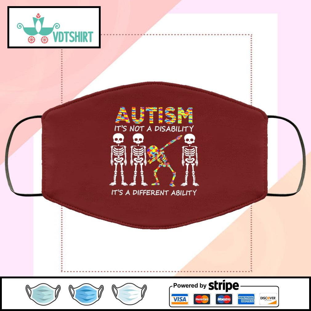 Autism is not a disability it's a different ability face mask face-mask-chocolate-color