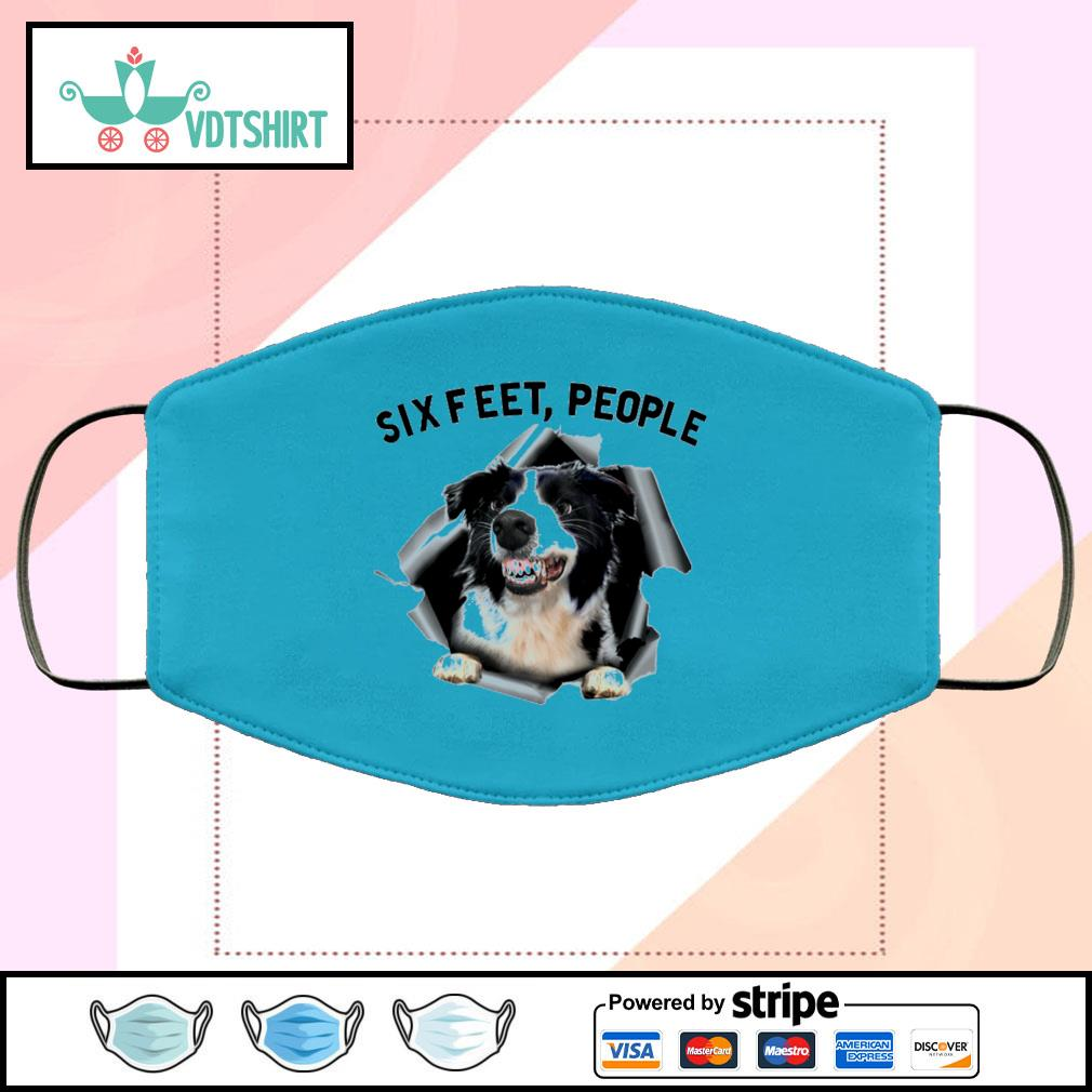 Border Collie 6 Feet People face mask face-mask-light-blue-color