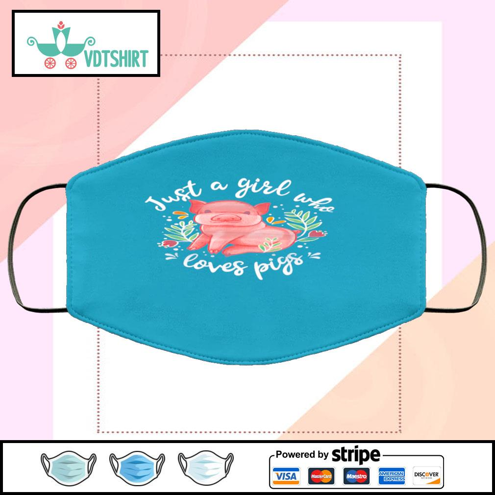 Just Girl Who Loves Pigs face-mask-light-blue-color