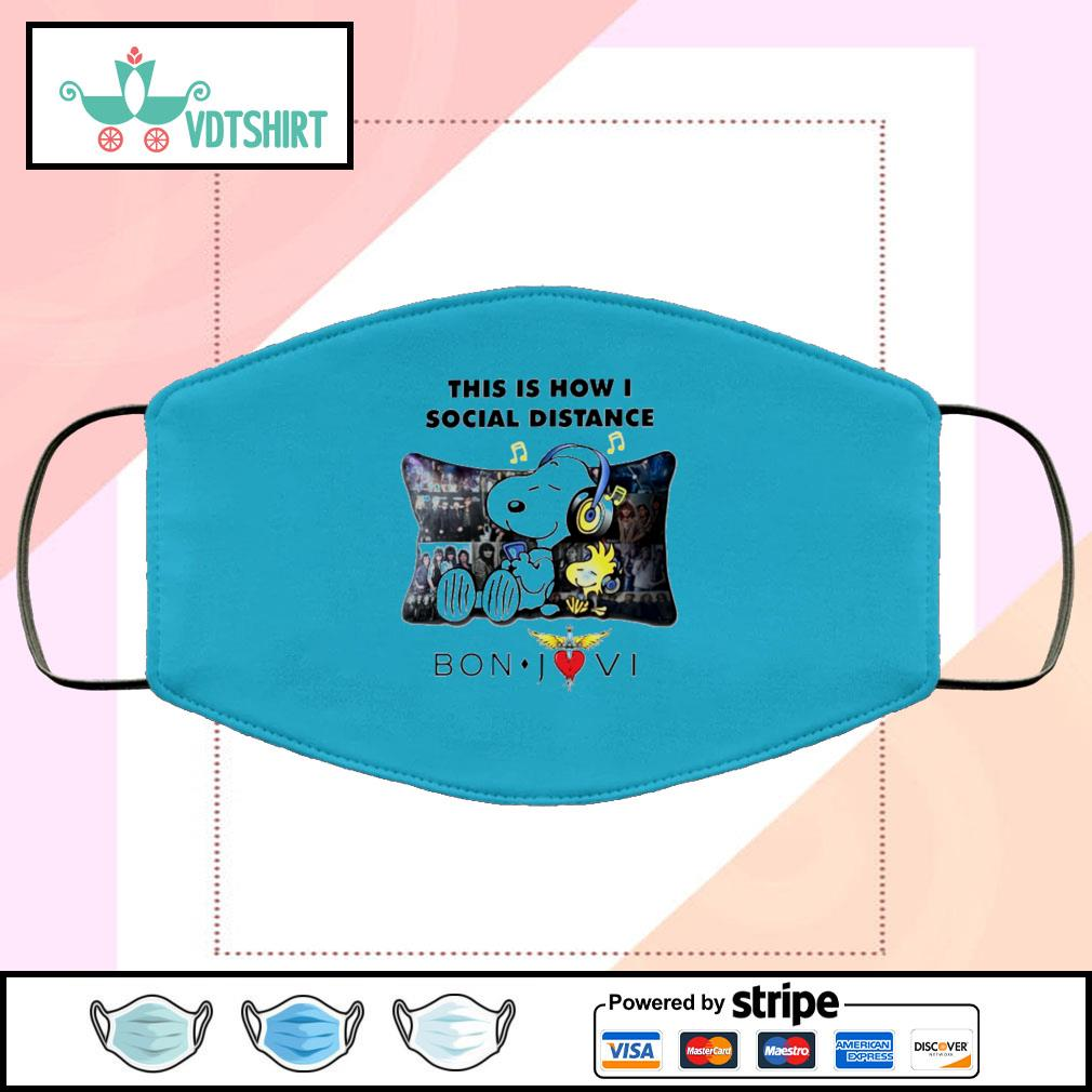 Snoopy this is how I social distance Bon Jovi face mask face-mask-light-blue-color