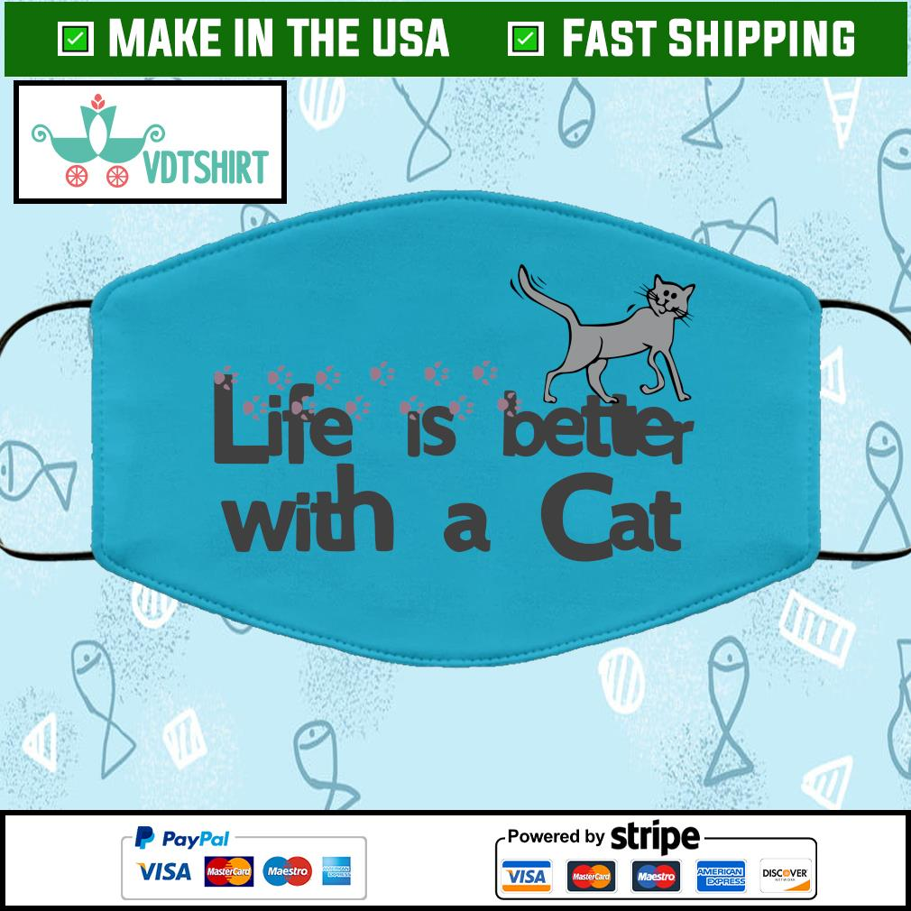 Life is better with a cat Face Mask Washable blue