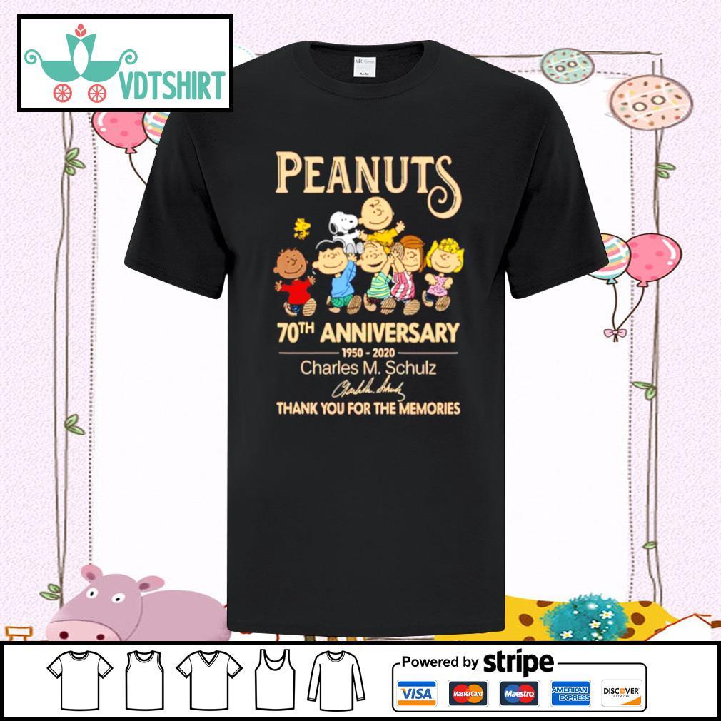 Peanuts 70th Anniversary 1950 2020 Charles M Schulz Snoopy shirt