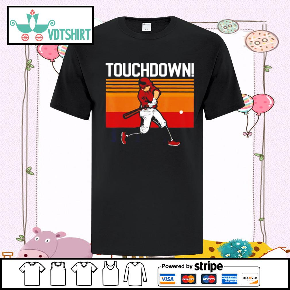 Touchdown sports humor home run baseball vinntage retro shirt