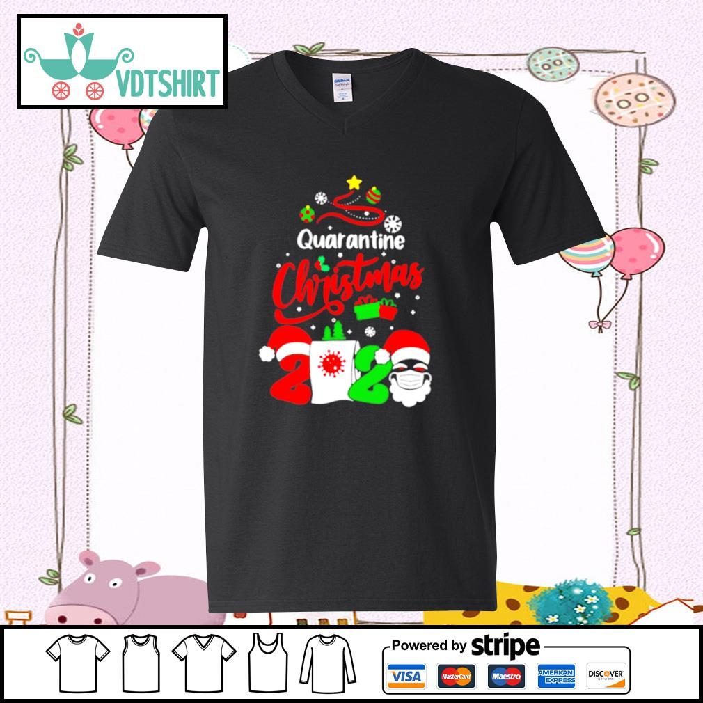 Quarantine Christmas 2020 Santa Claus Toilet Paper Tree s v-neck t-shirt