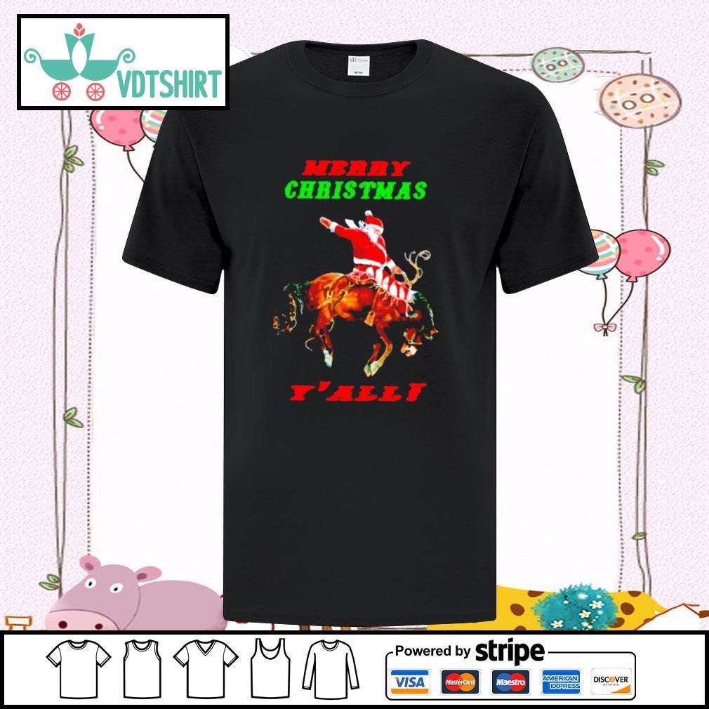 Santa Claus Riding Horse Merry Christmas Yall shirt