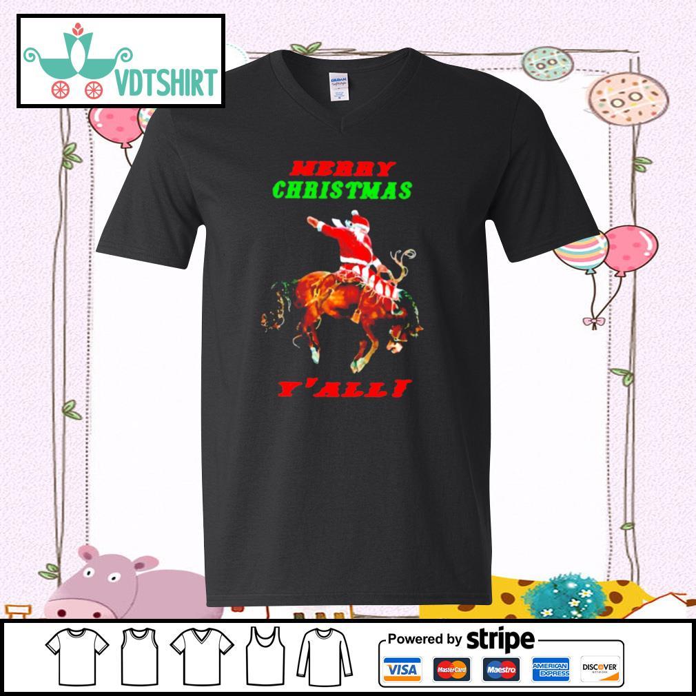 Santa Claus Riding Horse Merry Christmas Yall s v-neck t-shirt