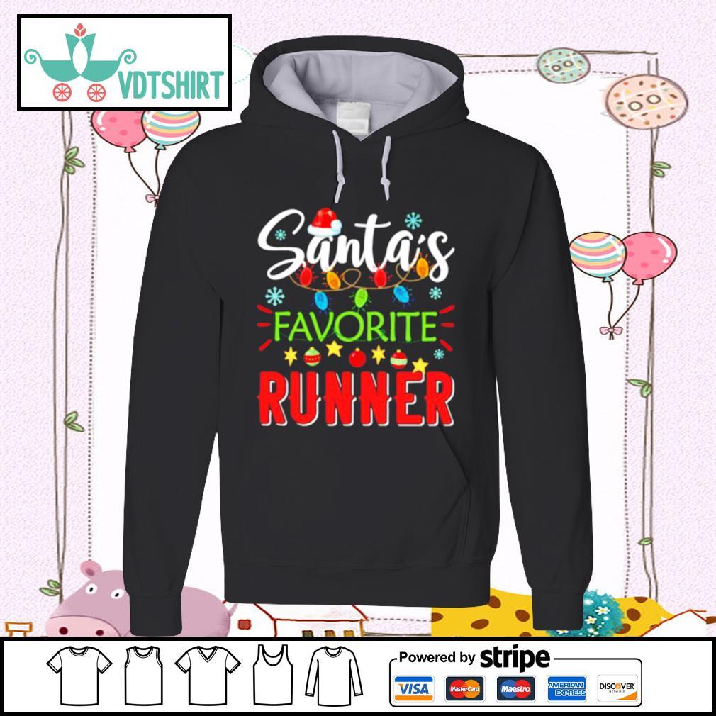 Santa's Favorite Runner Xmas Light Santa Hat Christmas Gift Santas Favorite Runner s hoodie