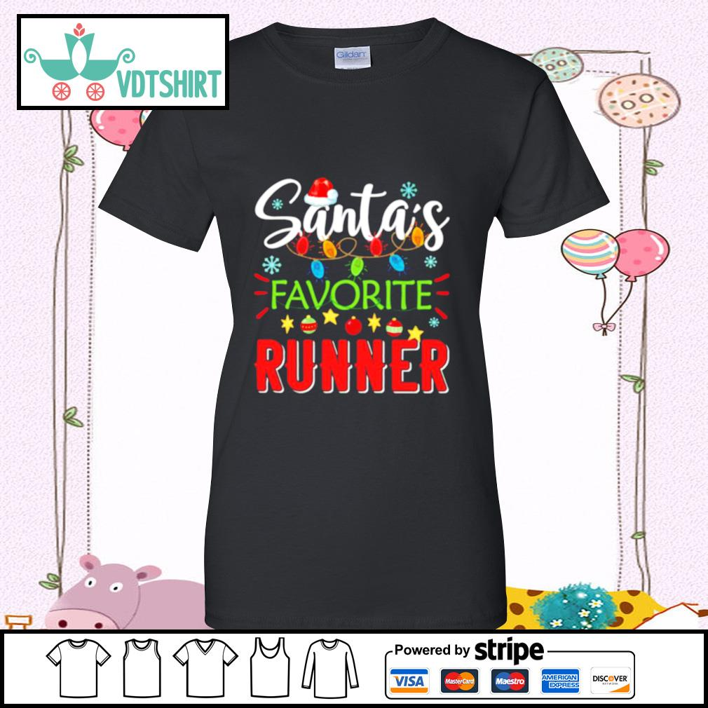 Santa's Favorite Runner Xmas Light Santa Hat Christmas Gift Santas Favorite Runner s ladies tee
