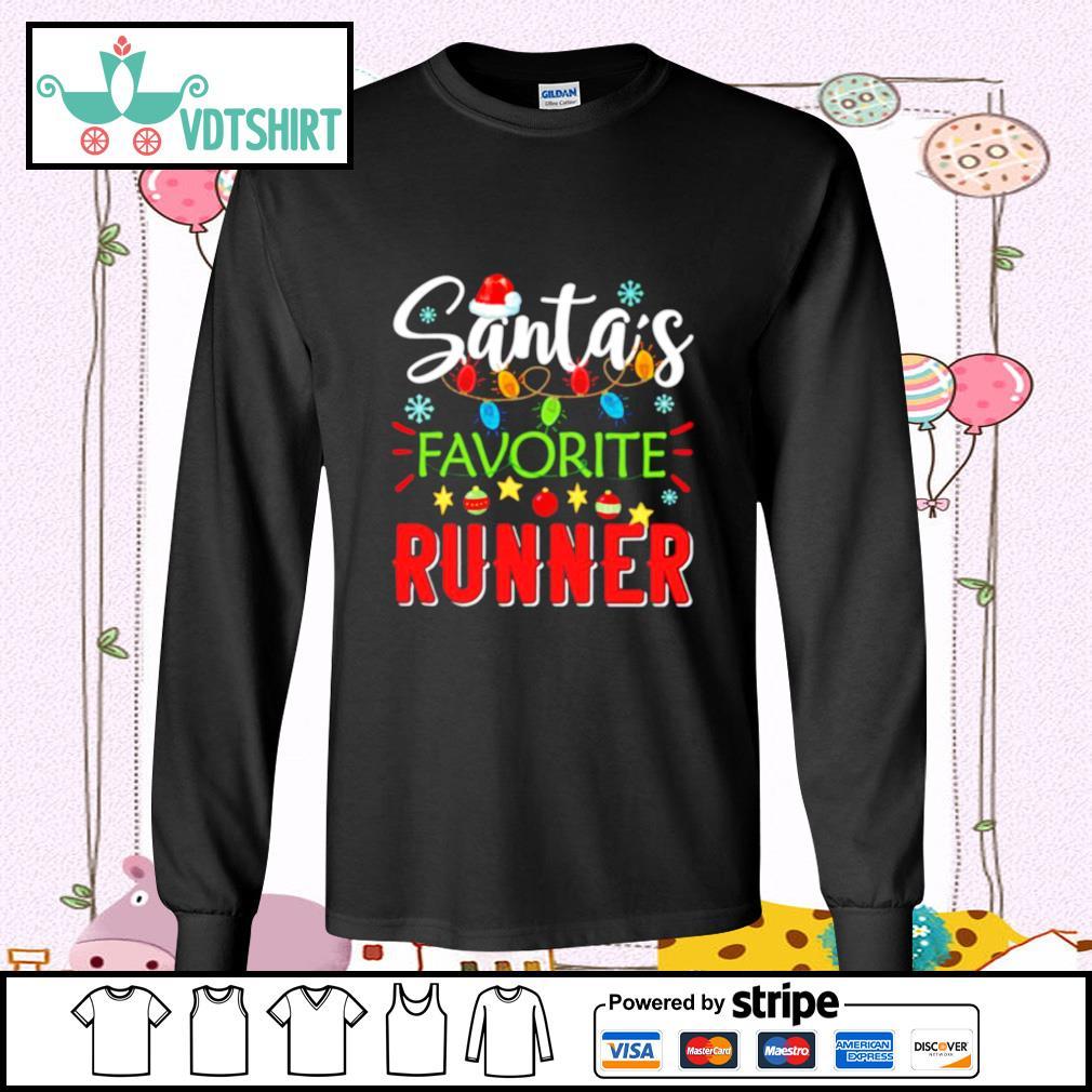 Santa's Favorite Runner Xmas Light Santa Hat Christmas Gift Santas Favorite Runner s longsleeve-tee
