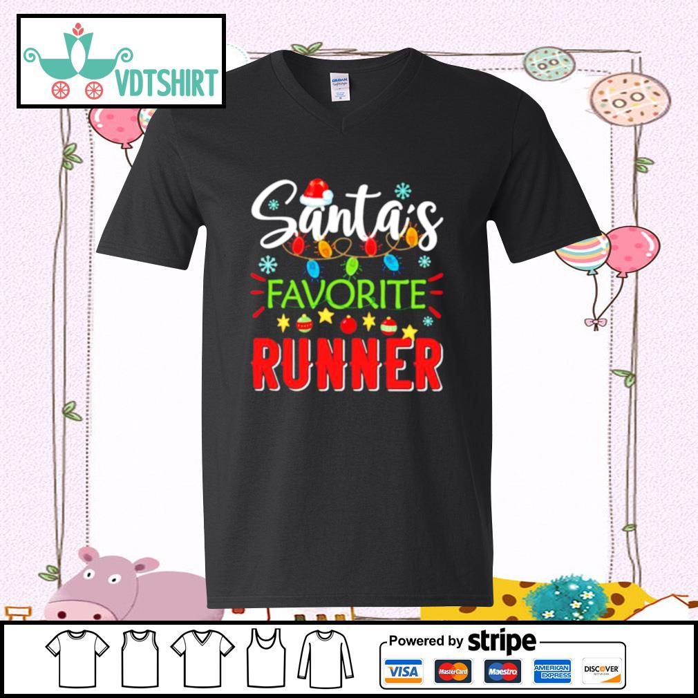 Santa's Favorite Runner Xmas Light Santa Hat Christmas Gift Santas Favorite Runner s v-neck t-shirt