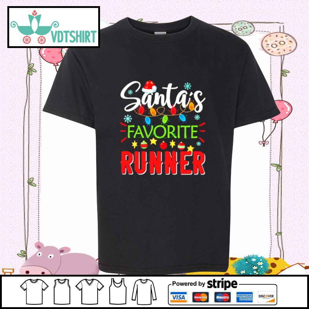 Santa's Favorite Runner Xmas Light Santa Hat Christmas Gift Santas Favorite Runner s youth-tee