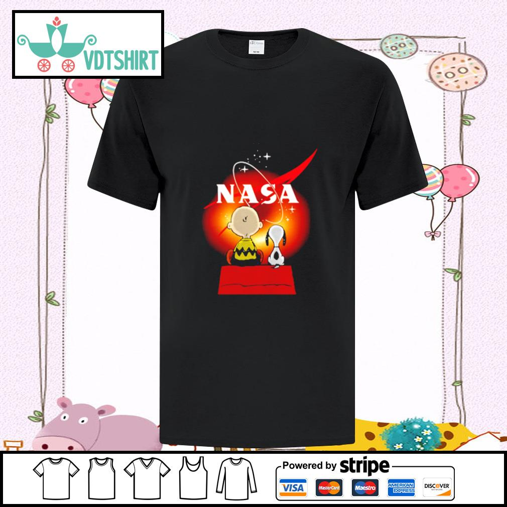 Snoopy And Charlie Brown Looking Black Hole Nasa Shirt