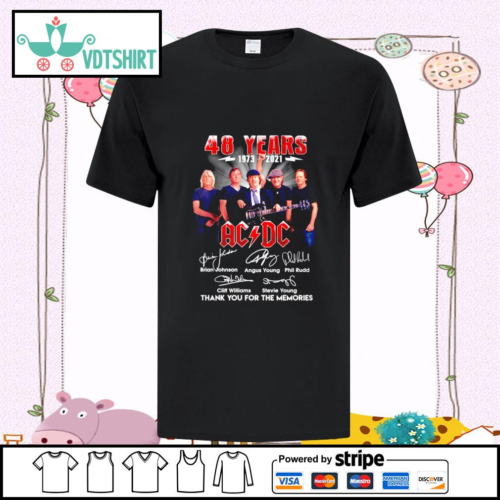 ACDC 48 years 1973-2021 signature thank you for the memories shirt